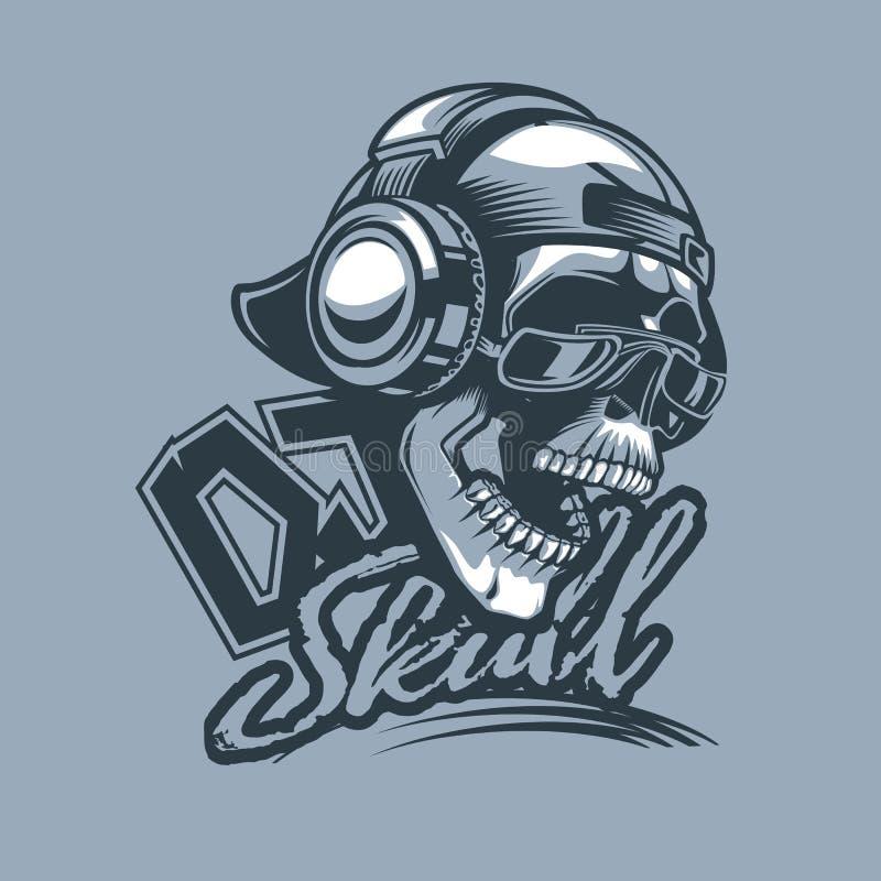 Le DJ à la mode, le crâne dans le chapeau et les écouteurs et le texte dynamique illustration de vecteur