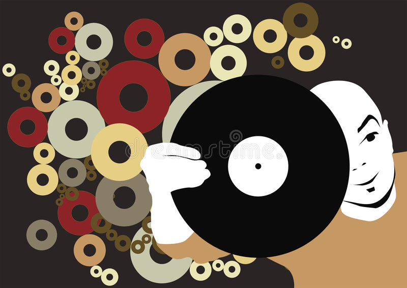 Le DJ avec l'enregistrement illustration stock