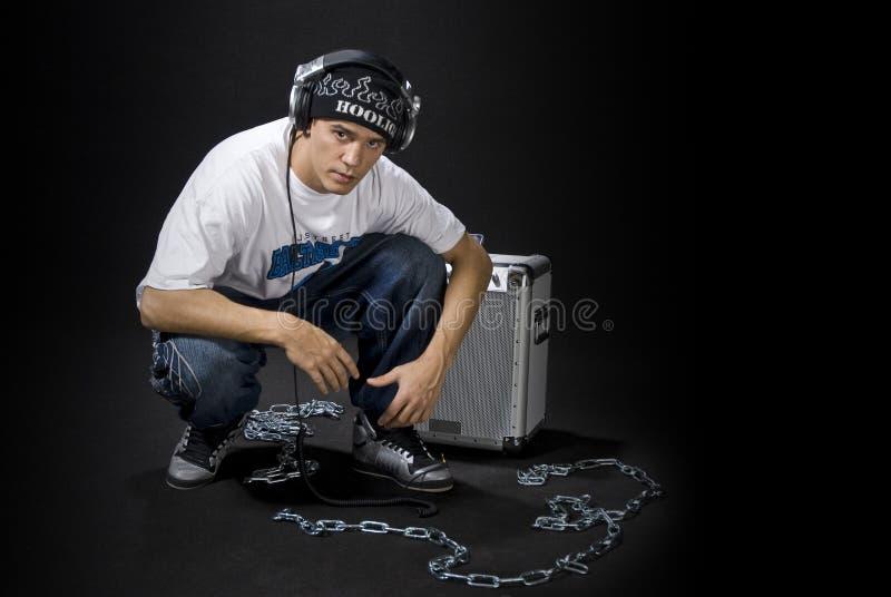 Le DJ avec le haut-parleur image libre de droits
