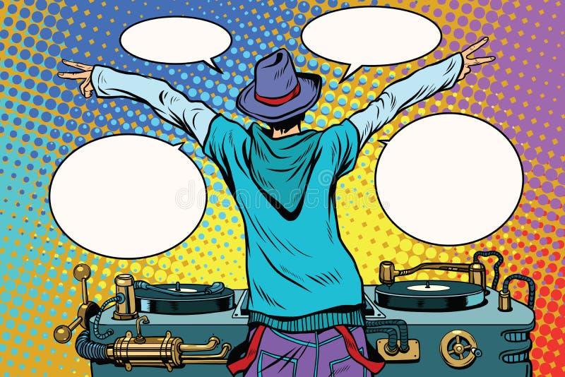 Le DJ font la fête le panneau de vinyle, vue par derrière illustration libre de droits