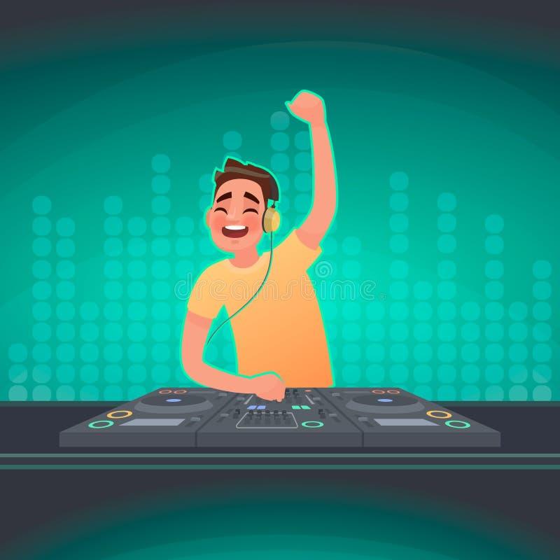 Le DJ joue la musique à la plaque tournante Une partie dans une boîte de nuit Illustration de vecteur illustration stock