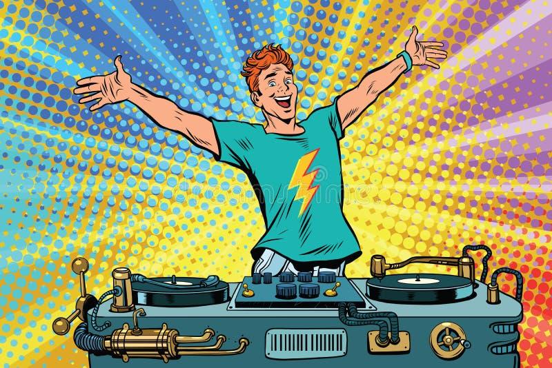 Le DJ sur un club font la fête illustration stock