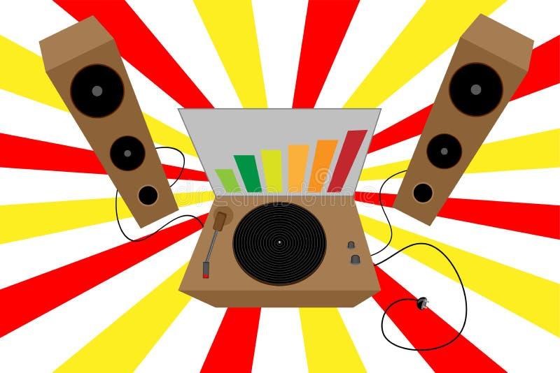 Le DJ Vieille plaque tournante Rétro vinyle Vecteur disco illustration libre de droits