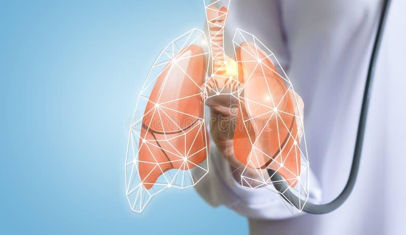 Le docteur écoute les poumons photos stock
