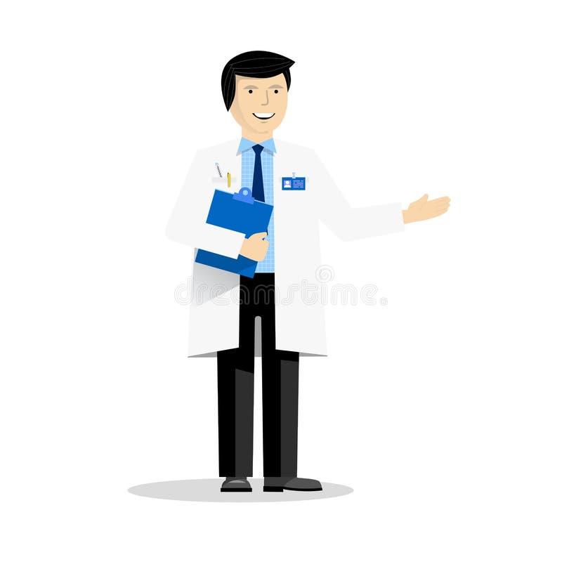 Le docteur avec le dossier bleu se dirigeant sur quelque chose illustration de vecteur