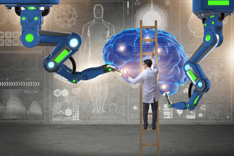 Le docteur dans le concept médical futuriste avec le cerveau illustration stock