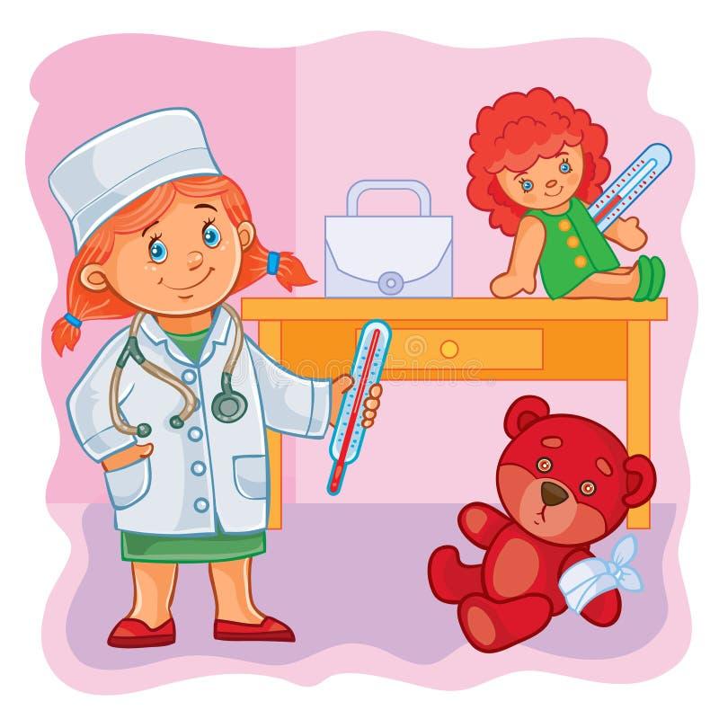 Le docteur de petite fille traite leurs jouets illustration de vecteur