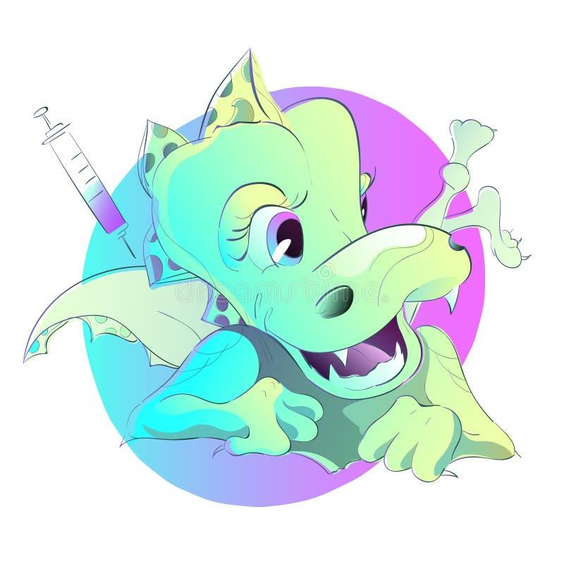Le docteur fait à vaccination le petit dinosaure illustration stock