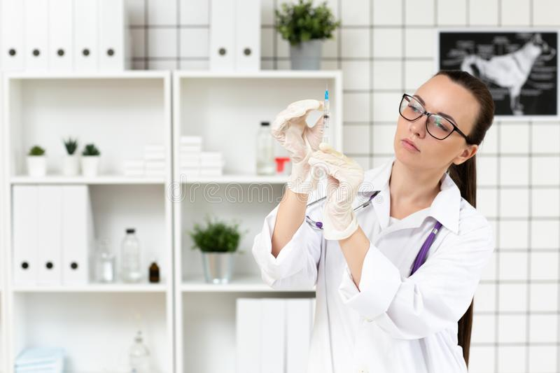 Le docteur prépare un compte-gouttes avec une solution de médecine dans la clinique Fin vers le haut Fond brouill? image stock