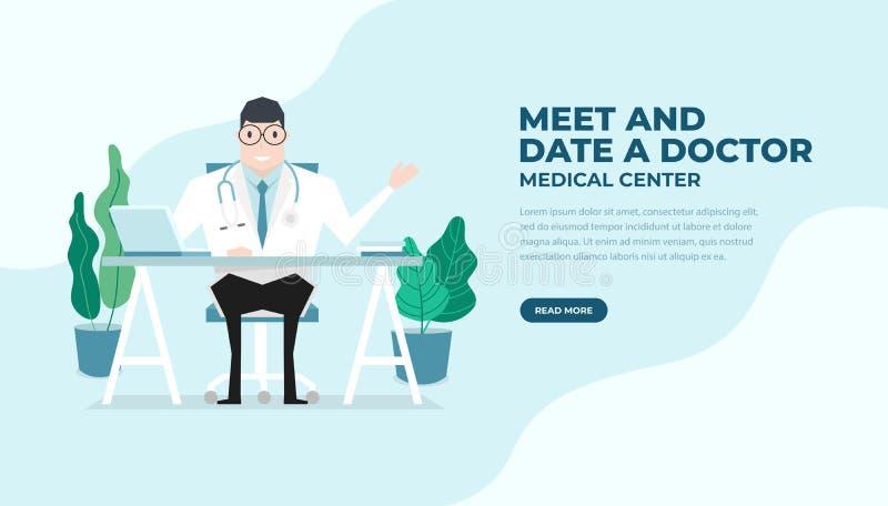 Le docteur s'est assis au style plat de bureau Homme de docteur de praticien dans le bureau médical d'hôpital Consultation et dia illustration stock