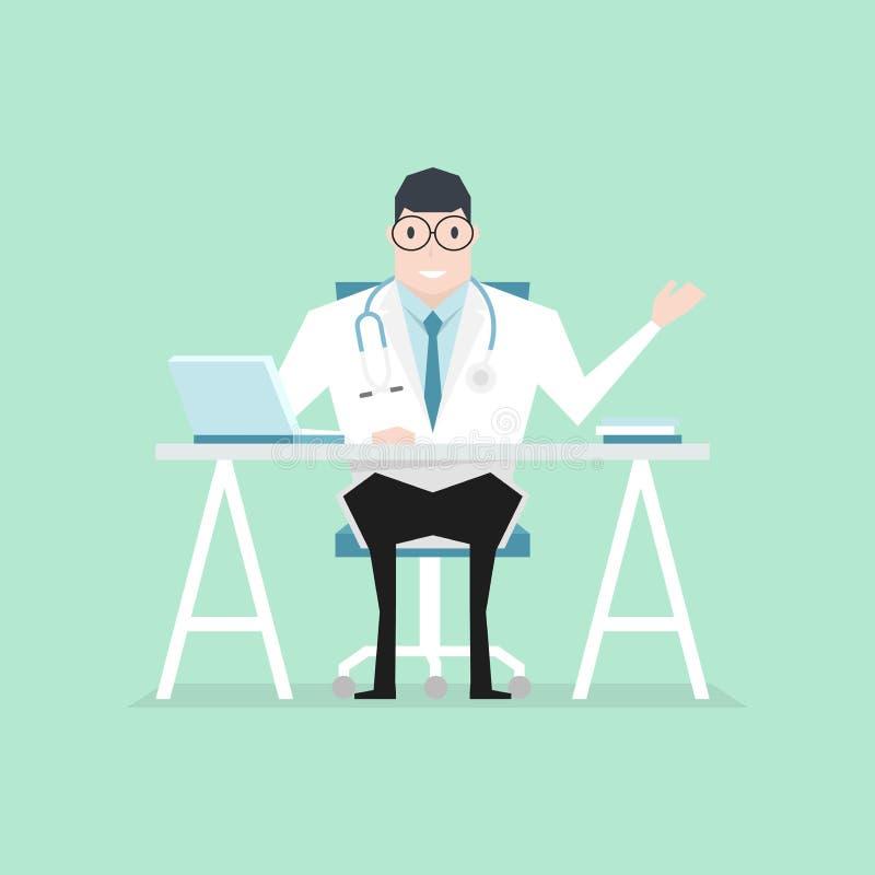 Le docteur s'est assis au style plat de bureau Homme de docteur de praticien dans le bureau médical d'hôpital Consultation et dia illustration libre de droits