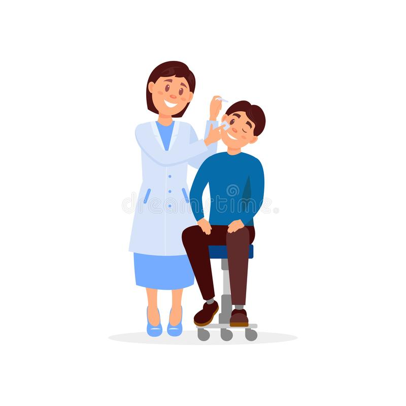 Le docteur soigneux traite l'oeil du jeune homme employant des oeil-baisses Professionnel au travail Concept de traitement médica illustration libre de droits