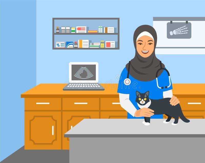 Le docteur vétérinaire tient le chat sur la table d'examen illustration de vecteur