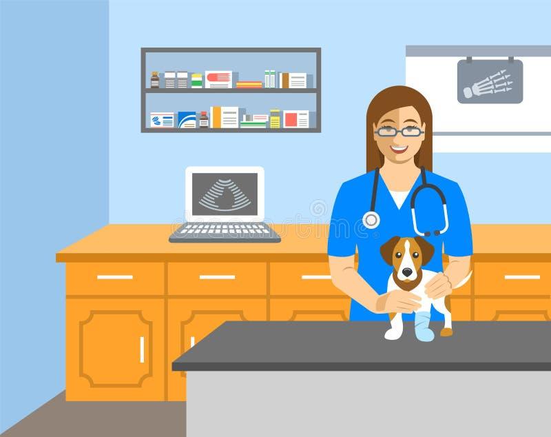 Le docteur vétérinaire tient le chien sur la table d'examen illustration libre de droits