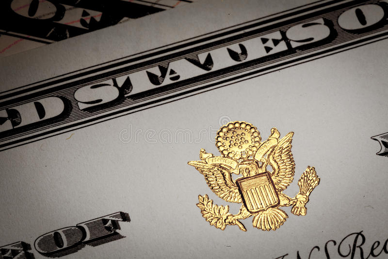 Le document avec les symboles des Etats-Unis d'Amérique. photo stock