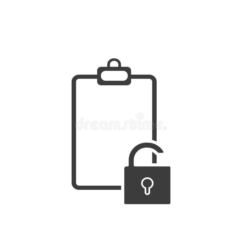 Le document cassé, ouvrent l'icône plate illustration stock