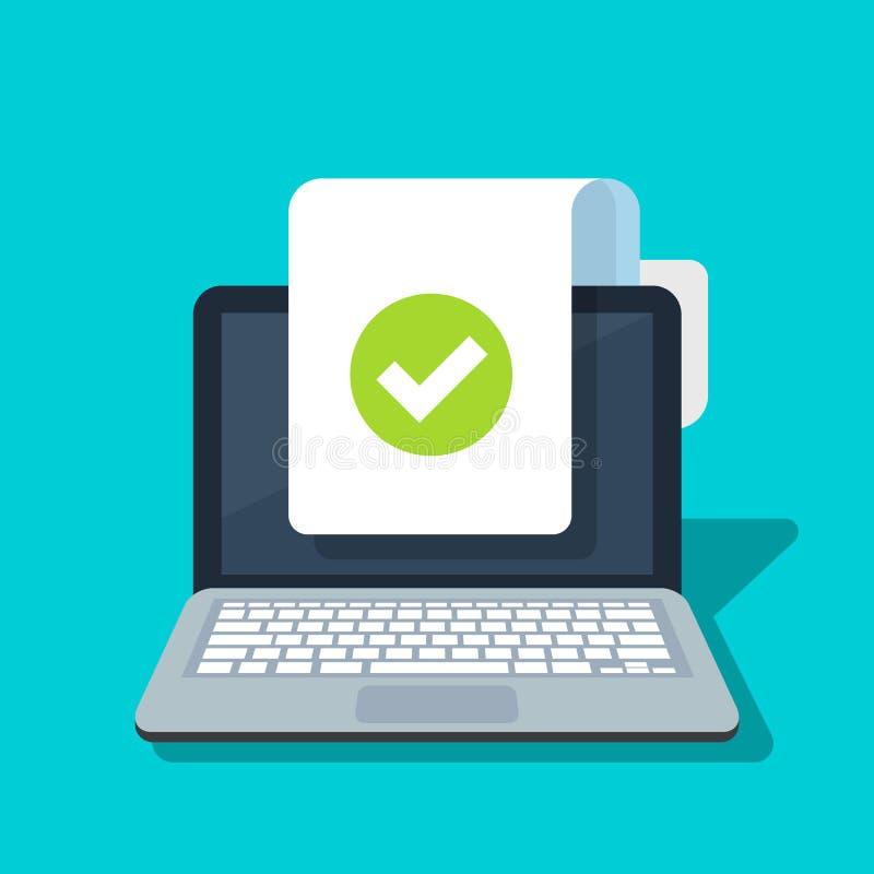 Le document et le trait de repère dirigent l'icône sur le fond d'ordinateur portable Concept ou symbole correct de forme ou d'acc illustration de vecteur