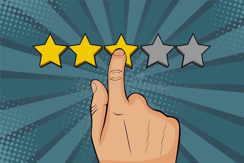 Le doigt de points d'homme d'art de bruit ? l'?toile, met l'estimation, rappelle en tant que les ?toiles d'or illustration stock
