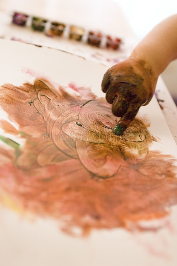 Le doigt peint la verticale photo libre de droits