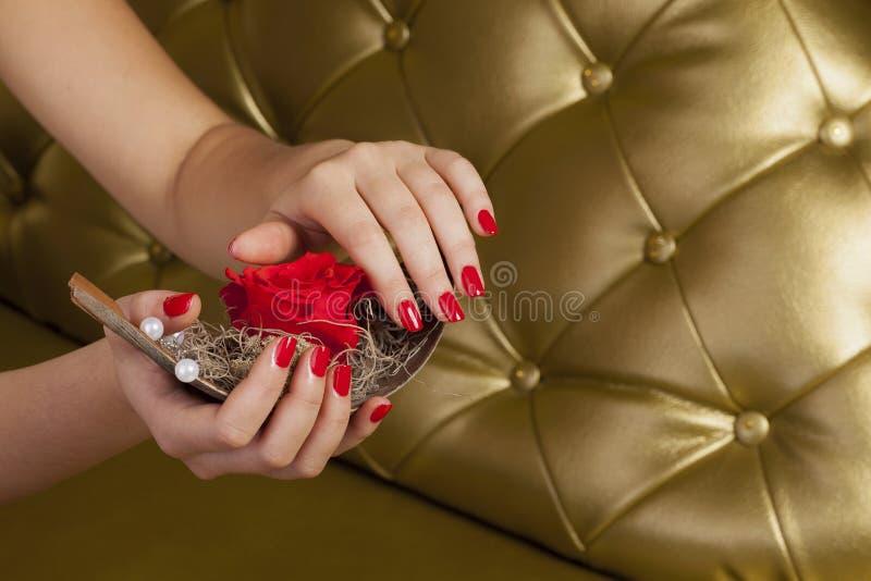 Le doigt rouge cloue tenir un bateau avec une rose photos libres de droits