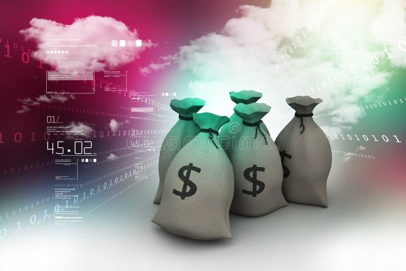 Le dollar a complété le sac illustration libre de droits