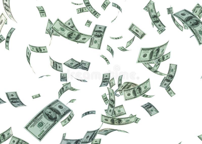 Le dollar 3d en baisse de Hundered rendent sur le blanc avec le chemin de coupure illustration stock