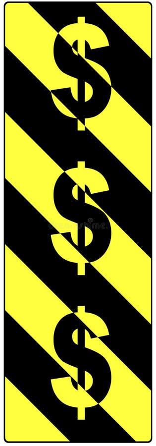 Le dollar se connecte un signal d'avertissement de circulation photo libre de droits