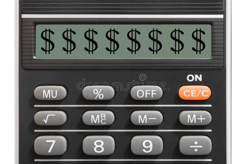 Le dollar se connectent la calculatrice photos libres de droits