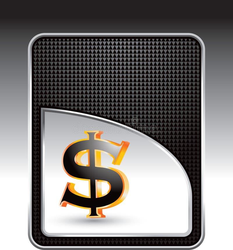 Le dollar se connectent le fond checkered noir illustration de vecteur