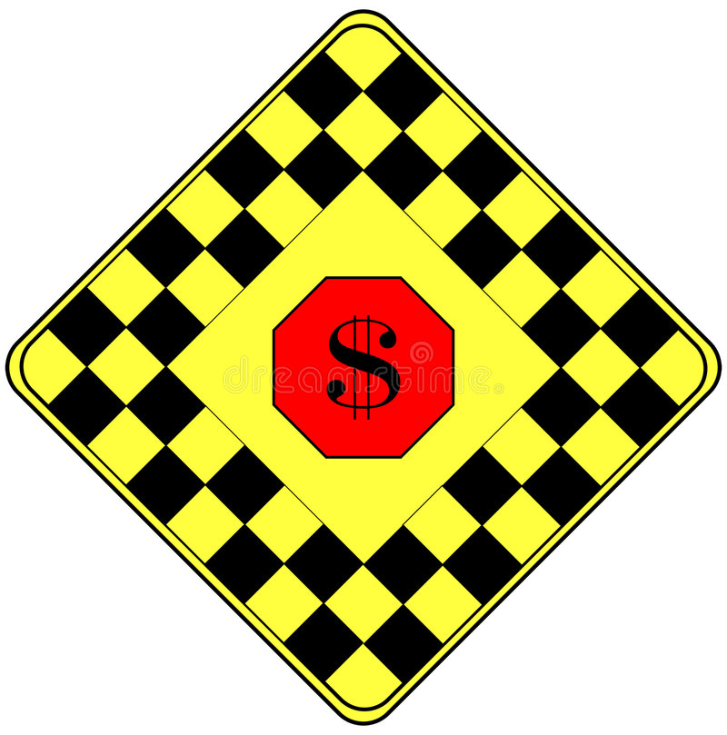 Le Dollar Se Connectent Un Signal D Avertissement De Circulation Photos stock