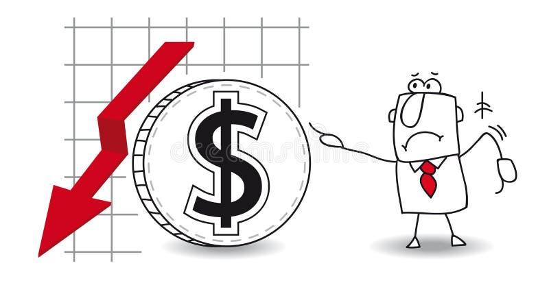 Le dollar se développe vers le bas illustration stock