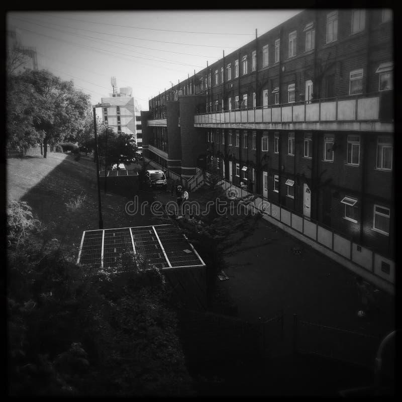 Le domaine du sud-est de conseil de côte de film noir et blanc raye l'architecture images stock