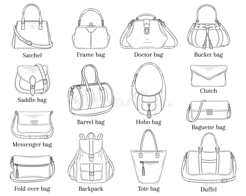Le donne adattano le borse raccolta, illustrazione di schizzo di vettore illustrazione di stock