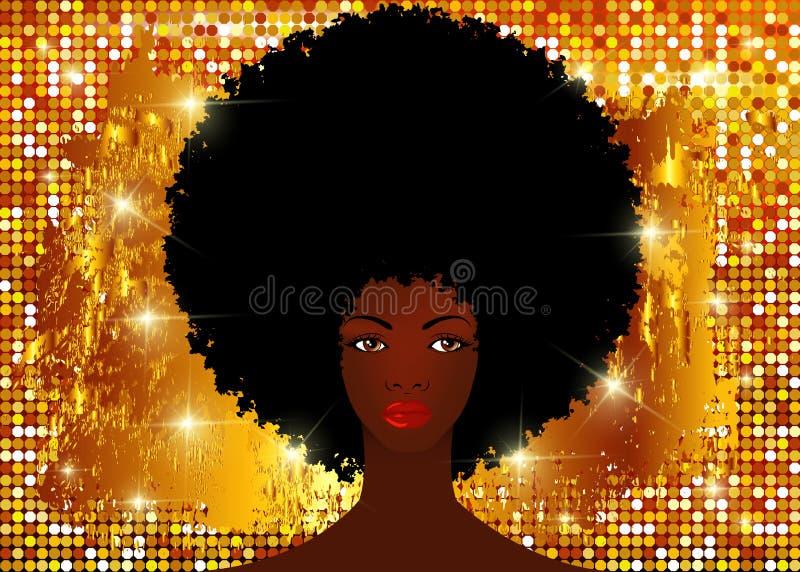 Le donne africane del ritratto, fronte femminile della pelle scura con il bello afro tradizionale dei capelli neri, brillano fond illustrazione vettoriale