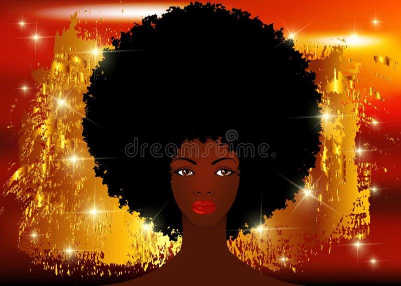 Le donne africane del ritratto, fronte femminile della pelle scura con il bello afro tradizionale dei capelli neri, brillano fond illustrazione di stock