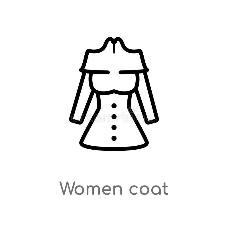 le donne del profilo ricoprono l'icona di vettore linea semplice nera isolata illustrazione dell'elemento dal concetto di modo do royalty illustrazione gratis