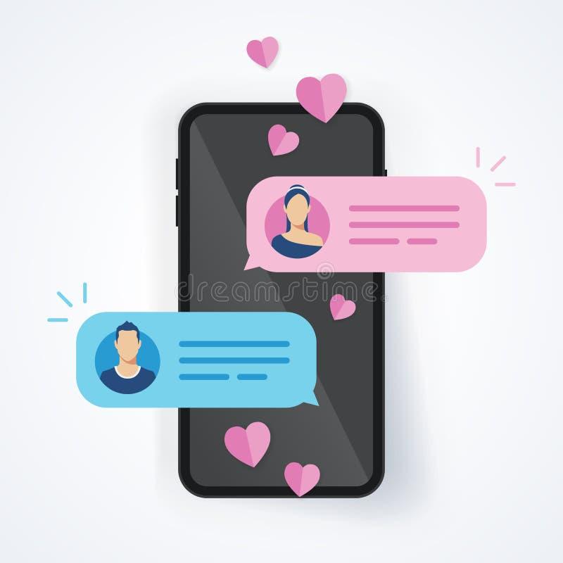 Le donne dell'uomo di chiacchierata di concetto dell'illustrazione di vettore amano le coppie nel messaggio inviato telefono cell royalty illustrazione gratis