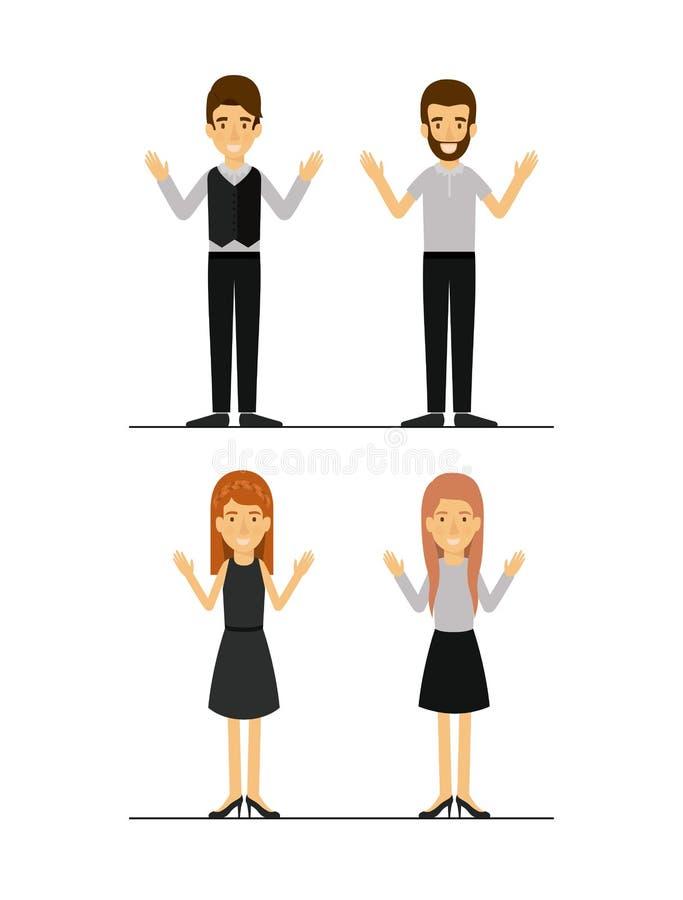 Le donne e gli uomini hanno messo in vestiti convenzionali sulla siluetta variopinta illustrazione di stock