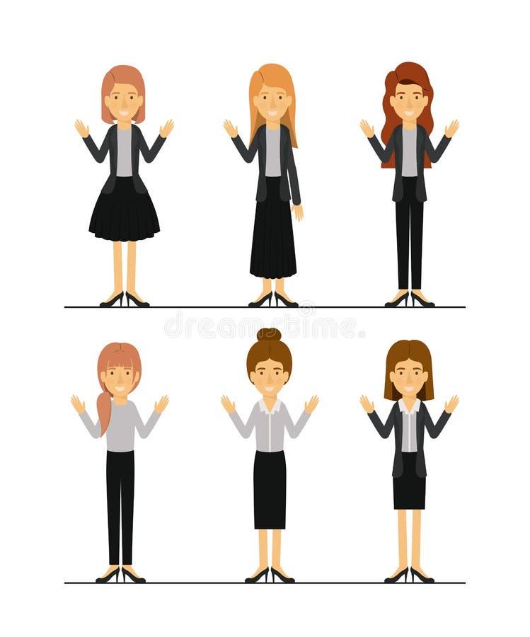 Le donne hanno messo in vestiti convenzionali sulla siluetta variopinta illustrazione vettoriale