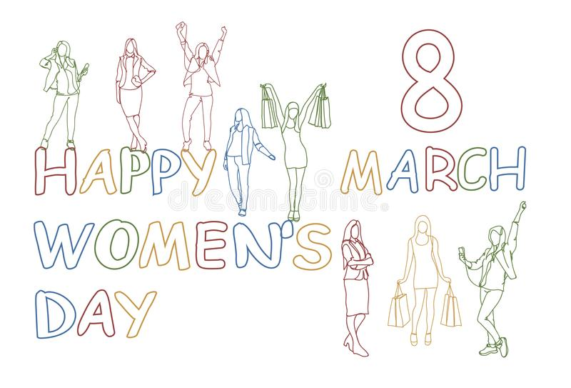 Le donne il giorno concetto ragazze felici della siluetta di scarabocchio dell'8 marzo raggruppano i contenitori ed i sacchetti d illustrazione di stock