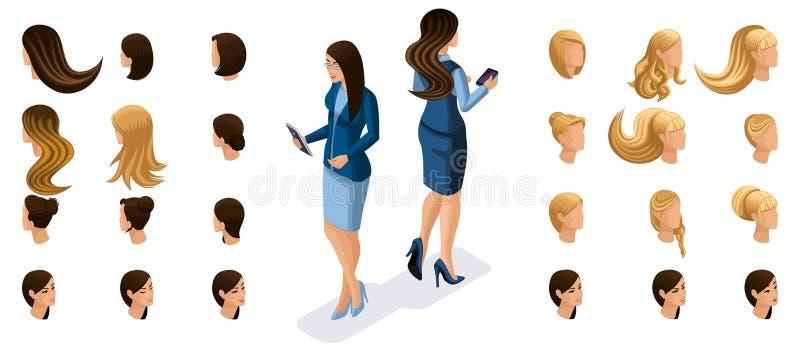 Le donne isometriche di affari lavorano con gli aggeggi, lo schermo virtuale, retrovisione di vista frontale Crei il carattere al royalty illustrazione gratis