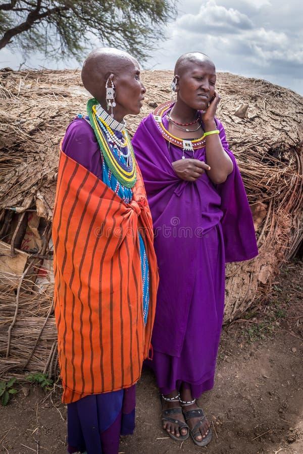 Le donne masaie parlano con felicità prima che canti la canzone benvenuta per i turisti che visitano il vill masai immagine stock libera da diritti