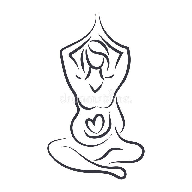le donne nell'yoga posano nella linea stile di arte Vettore royalty illustrazione gratis