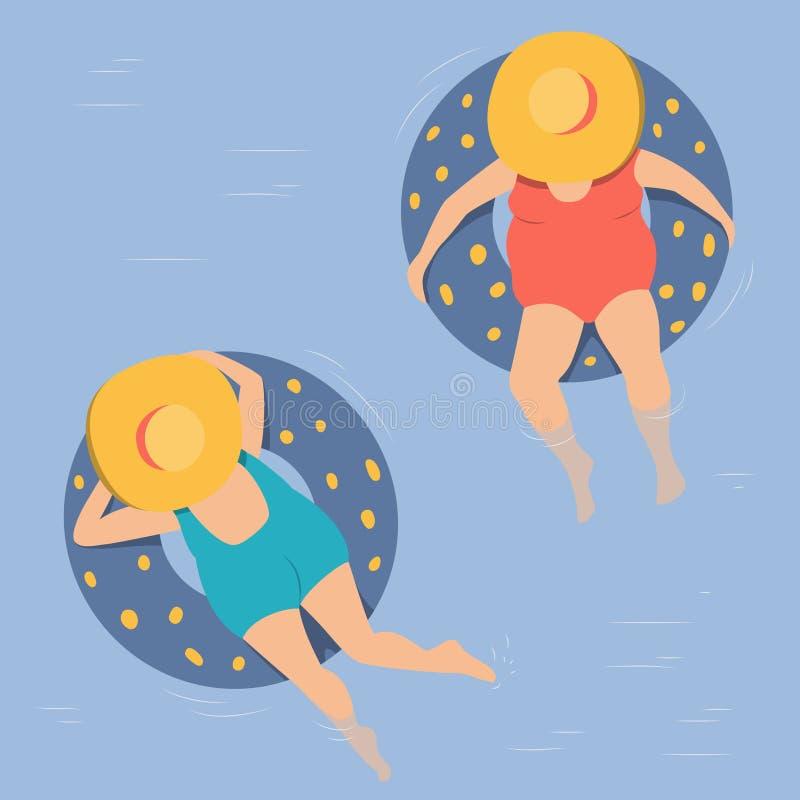 Le donne nuotano nel mare sui cerchi gonfiabili illustrazione di stock