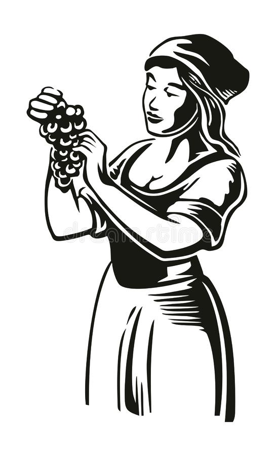 Le donne raccolgono l'uva nella vigna Vettore d'annata nero che incide illustrazione per l'etichetta, manifesto, icona, web desig illustrazione vettoriale