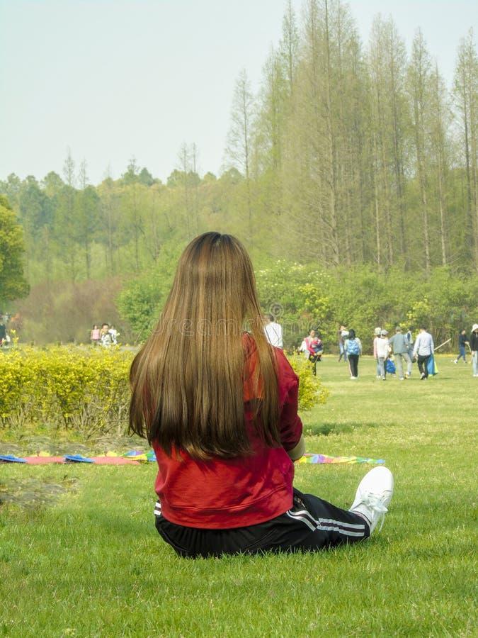 Le dos élégant d'une dame s'asseyant sur une pelouse scénique images libres de droits