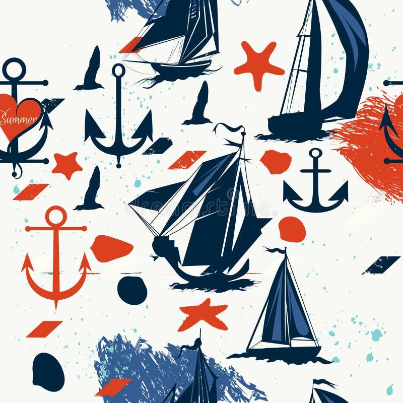 Le dos sans couture de vintage avec le bleu embarque des coquilles et des ancres illustration libre de droits