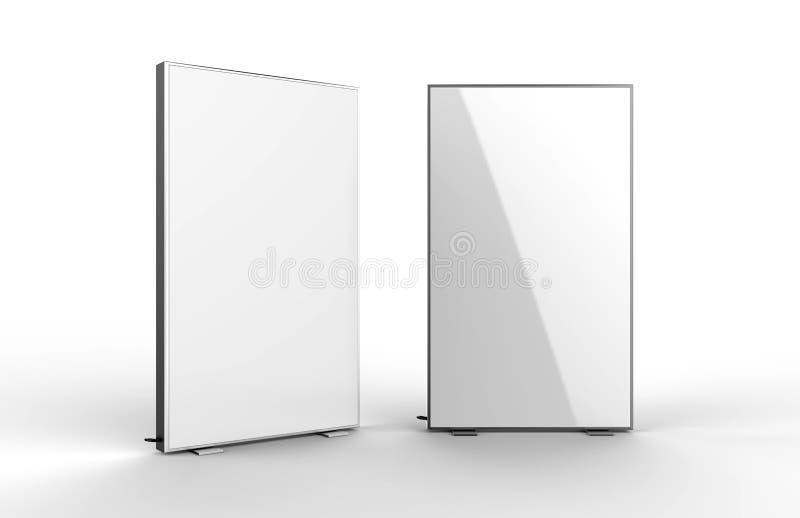 Le double caisson lumineux latéral de la publicité a renforcé la boîte moins allumée de signe de cadre l'illustration 3d rendent illustration libre de droits