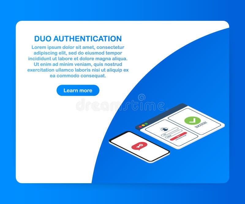 Le double concept d'authentification de facteur a basé la conception isométrique, ordinateur portable avec la fenêtre d'ouverture illustration de vecteur