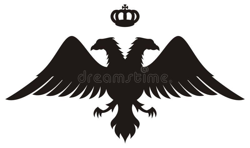 Le double a dirigé la silhouette d'aigle avec la tête illustration stock